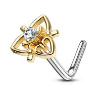 Piercing nez tige en L triple coeur filigrane plaqué or