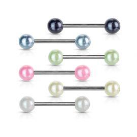 Piercing langue avec Boules acrylique Perlées