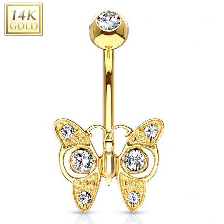 Piercing nombril Or 14 carats papillon