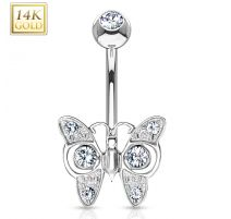 Piercing nombril Or blanc 14 carats papillon