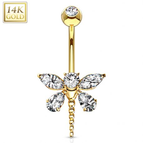 Piercing nombril Or 14 carats libellule
