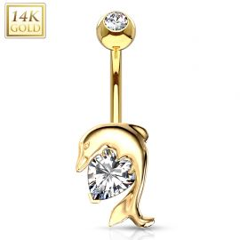 Piercing nombril Or jaune 14 carats Dauphin