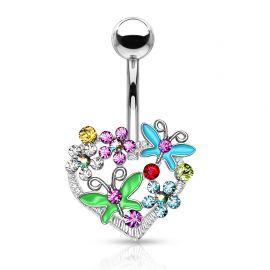 Piercing nombril Cœur Fleur Papillon