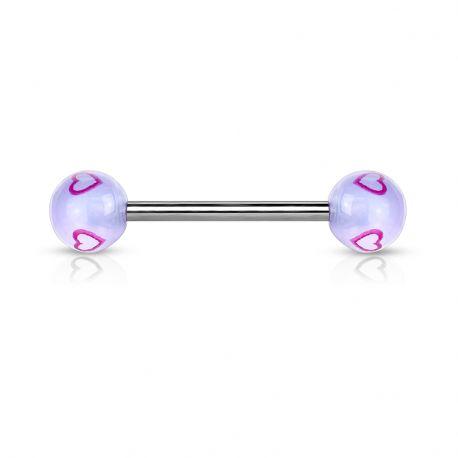 Piercing langue Boules acrylique Coeurs