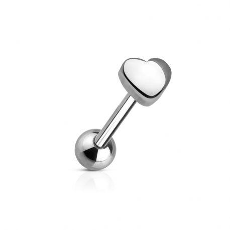 Piercing langue Coeur 5 mm en acier chirurgical