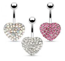 Piercing nombril Coeur Multi Crystal
