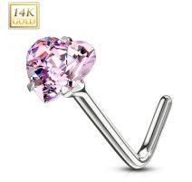 Piercing nez Or blanc 14 carats coeur rose tige en L
