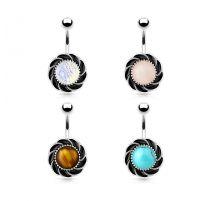 Piercing nombril fleur pierre opale