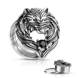 Piercing tunnel loup ailes d'ange
