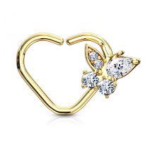Piercing cartilage daith anneau coeur plaqué or papillon