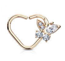 Piercing cartilage daith anneau coeur plaqué or rose papillon