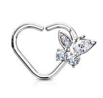 Piercing cartilage daith anneau coeur argenté papillon