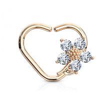 Piercing cartilage daith anneau coeur plaqué or rose fleur
