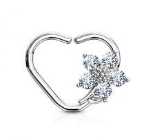 Piercing cartilage daith anneau coeur argenté fleur