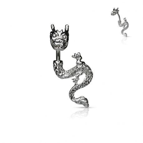 Piercing nombril Plaqué Rhodium Dragon avec Gemmes