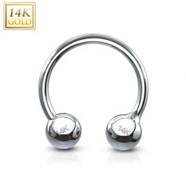 Piercing fer à cheval Or Blanc Boules