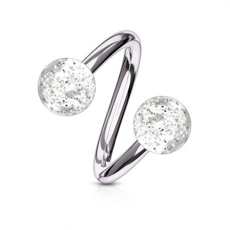 Piercing Spirale Boules Paillettes