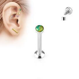 Piercing labret vissage interne opale vert