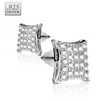 Paire boucles d'oreille argent rectangle pavé de strass