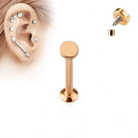 Piercing labret vissage interne rond or rose