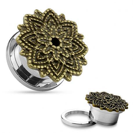 Piercing tunnel fleur de lotus dorée