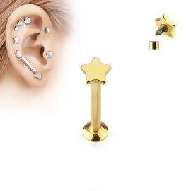 Piercing labret vissage interne étoile dorée