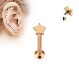 Piercing labret vissage interne étoile or rose