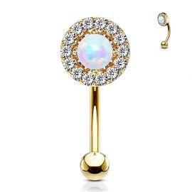 Piercing arcade plaqué or opale blanche gemmes