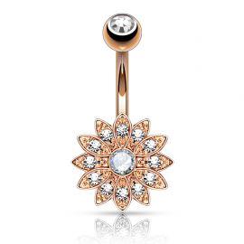 Piercing nombril petite fleur cristal plaqué or rose