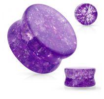 Piercing plug verre brisé violet