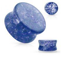 Piercing plug verre brisé bleu