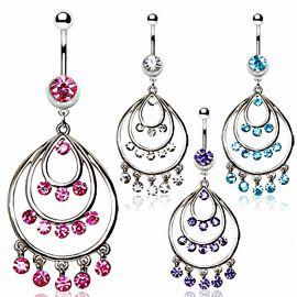 Piercing nombril pendentif chandelier rond