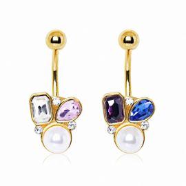Piercing nombril plaqué or gemmes et perle