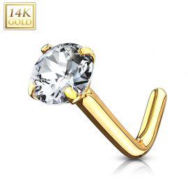 Piercing nez Or jaune 14 carats gemme 3 mm tige en L