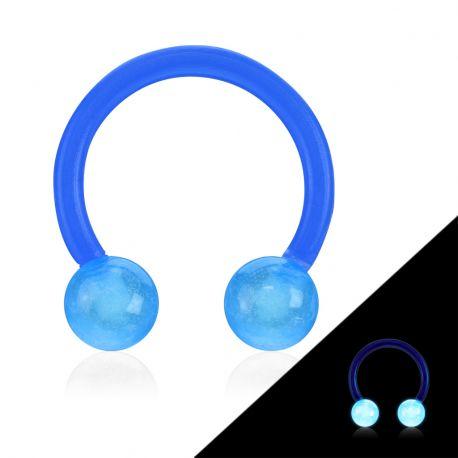 Piercing fer à cheval Bioflex glow in the dark bleu