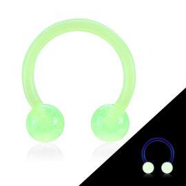 Piercing fer à cheval Bioflex glow in the dark vert