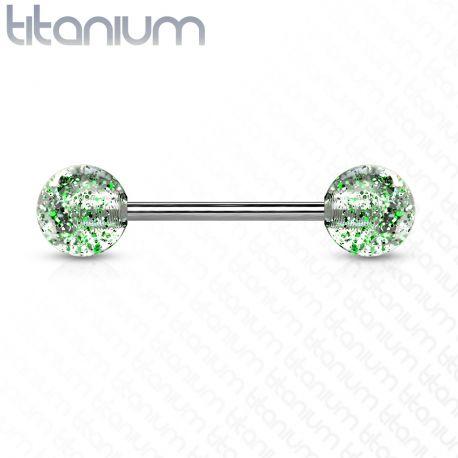 Piercing Langue Barbell Titane G23 Boules Ultra Glitter