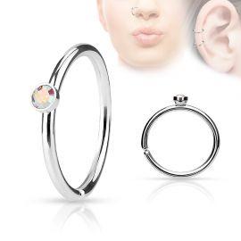 Piercing nez anneau cristal aurore boréale