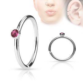 Piercing nez anneau cristal rose