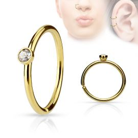 Piercing nez anneau doré cristal blanc