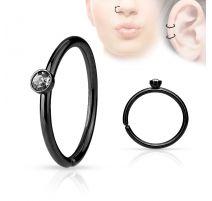 Piercing nez anneau noir cristal blanc
