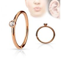 Piercing nez anneau or rosé cristal blanc
