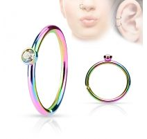 Piercing nez anneau rainbow cristal blanc