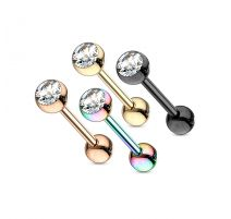 Lot de 4 piercing langue acier IP cristal