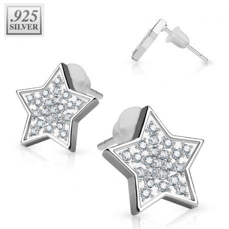 Paire boucles d'oreille argent étoile pavée de strass