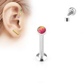 Piercing labret vissage interne opale rouge