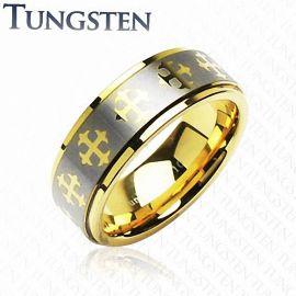 Bague Tungstène Plaqué Or Croix