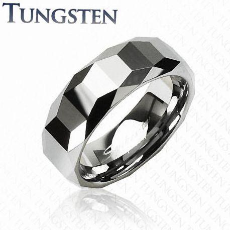 Bague Tungstène Trapèze Prismes - Bague homme et femme en tungstene