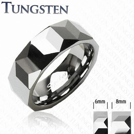 Bague Tungstène Mixte Prismes - Bague homme et femme en tungstene
