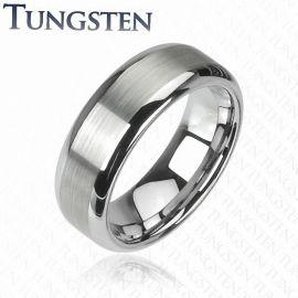 Bague Tungstène finition Mat centrale
